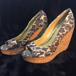Nine West Leopard Peep Toe Wedges